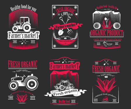 Vector retro set of farm fresh logos. Vintage farm badge collection. Organic farm logo and sign set. Farm labels and elements. Illustration