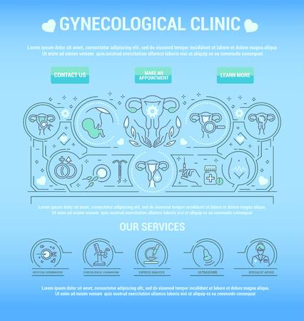 Vector graphic set. Line, countour, thin, flat design. Clinic, medical, center, gynecology hospital. Treatment of female genital disorder. Template for top internet web site main page. Health care.