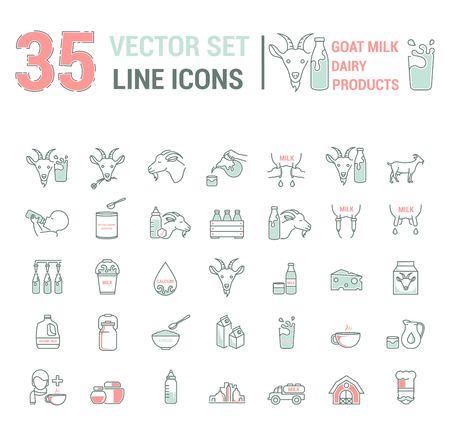 Définir un contour mince graphique d'icônes vectorielles dans une conception linéaire. Symboles d'emblème d'élément du lait de chèvre, de l'industrie laitière et des produits laitiers. Produit biologique. Fromage, aliments pour bébés sans allergènes, lait en poudre.
