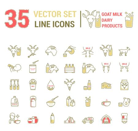 Set vector icons graphic thin outline in a linear design. Element emblem symbols of goat milk, the dairy industry and dairy products.Organic product. Cheese, Allergy-free baby food, dry milk.