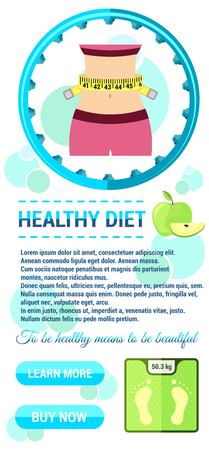 Vector illustration. Advertisement for flyer for a fitness diet in flat design. A template to create a site, ads, cover art. The concept of advertising sports and healthy food.