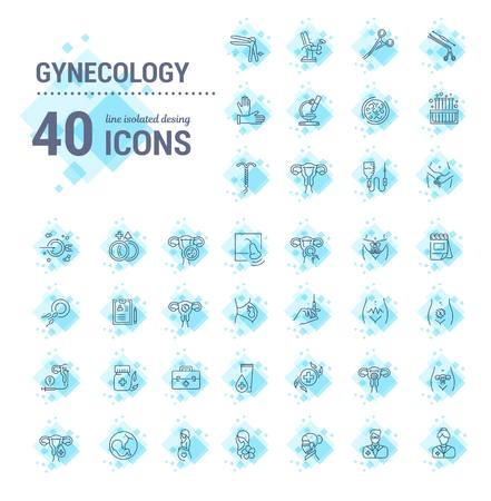 Vector graphic set.Icons in flat, contour,thin, minimal and linear design.Gynecology, gynecological problem and disease.Simple isolated icons.Concept illustration for Web site app.Sign,symbol,element.