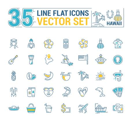 Vector graphics set. Illustration of Hawaii islands in a linear, flat, contour, thin design. Concept of silhouette, element, symbol, for the Internet Web site. 矢量图像