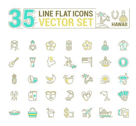 Vector graphics set. Illustration of Hawaii islands in a linear, flat, contour, thin design. Concept of silhouette, element, symbol, for the Internet Web site.