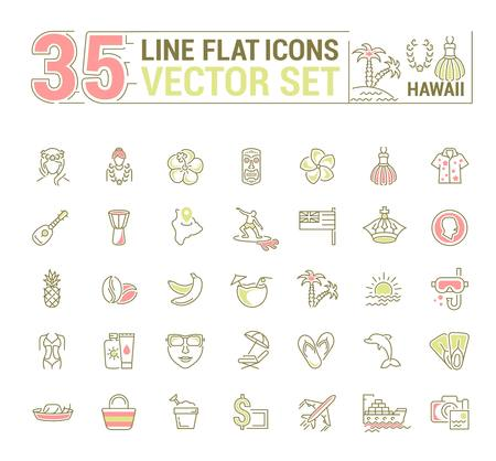 Vector graphics set. Illustration of Hawaii islands in a linear, flat, contour, thin design. Concept of silhouette, element, symbol, for the Internet Web site. 向量圖像