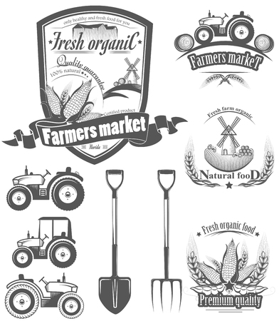 A set of logos,labels, stamps, badges for organic food. Vector illustration of Healthy food. collection of symbols for farm, ranch