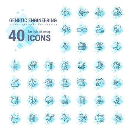 Vector graphic set. Icons in flat, contour, thin, minimal and linear design.Genetic Engineering. Human DNA, cloning, reproduction, research laboratory.Concept illustration for Web site.Sign, symbol. Vettoriali