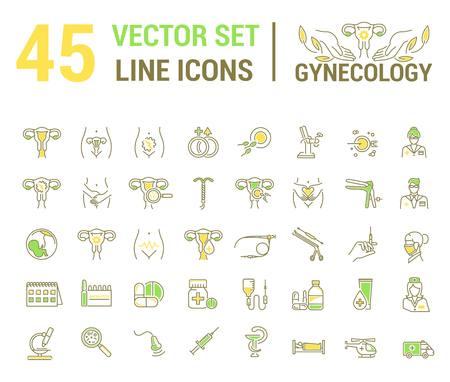 Vektor-Set von Symbolen. Gynäkologie, gynäkologisches Problem und Krankheit. Ein Symbol, Zeichen, Element, Emblem, Symbol. Das Konzept eines linearen und flachen Stils. Vektorgrafik