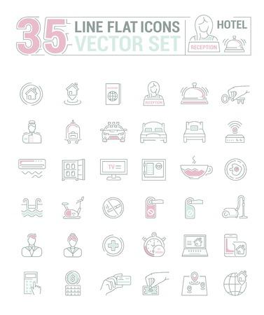 Conjunto de gráficos vectoriales. Iconos en diseño plano, contorno, delgado y lineal. Hotel y sus servicios. Icono aislado simple sobre fondo blanco. Ilustración de concepto para el sitio Web, aplicación. Signo, símbolo, emblema.