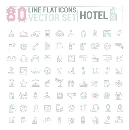 Vector graphic set.Icons in flat, contour,thin and linear design.Hotel and its services.Simple isolated icon on white background.Concept illustration for Web site, app.Sign,symbol,emblem. Illustration