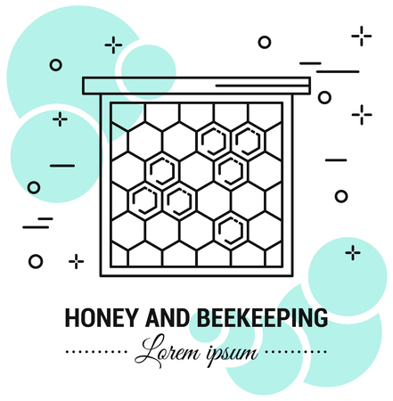 Honey and beekeeping label . Line style logotype template with honey elements. Easy to use business template. Vector abstract or emblem. Çizim