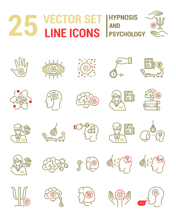 Set vector line icons in flat design with hypnosis and psychology elements for mobile concepts and web apps. Collection modern infographic and pictogram. Ilustracja
