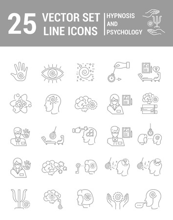 Set vector line icons in flat design with hypnosis and psychology elements for mobile concepts and web apps. Collection modern infographic and pictogram. Çizim