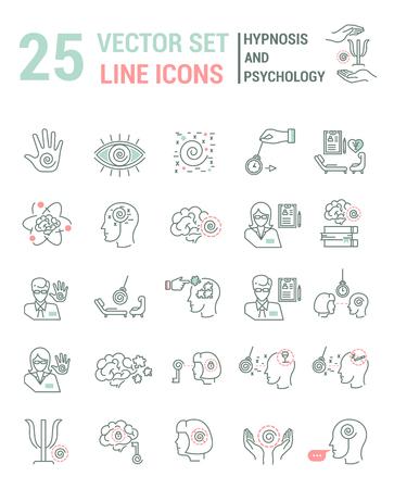 Zestaw ikon linii wektorowych w płaskiej konstrukcji z elementami hipnozy i psychologii dla koncepcji mobilnych i aplikacji internetowych. Kolekcja nowoczesnej infografiki logo i piktogram.