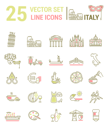 A set of graphical linear and flat icons with symbols of Italy. Colletia infographics and silhouettes of culture of Spain for map design, web sites, mobile applications.