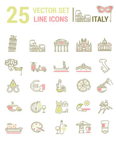Un conjunto de iconos gráficos lineales y planos con símbolos de Italia. Colletia infografías y siluetas de la cultura de España para diseño de mapas, sitios web, aplicaciones móviles.