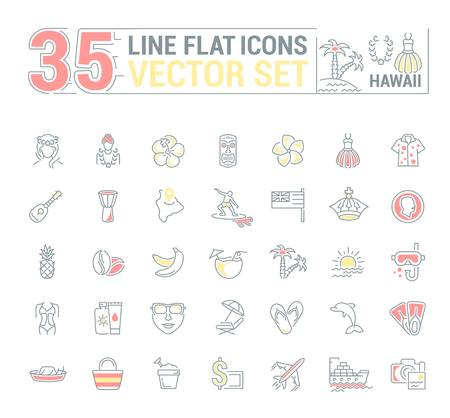 Vector graphics set. Illustration of Hawaii islands in a linear, flat, contour, thin design. Concept of silhouette, element, symbol, logo for the Internet Web site. 向量圖像