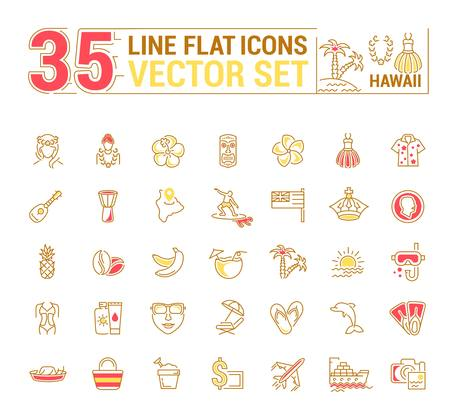 Vector graphics set. Illustration of Hawaii islands in a linear, flat, contour, thin design. Concept of silhouette, element, symbol, for the Internet Web site. Illustration