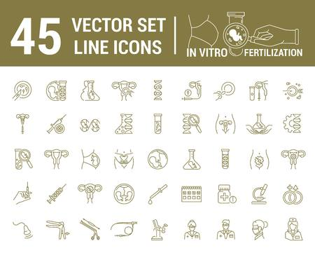 Vector graphic set. Silhouette, icon. Artificial insemination, bioengineering, biotechnology. Birth of embryo in linear, flat, contour, thin design. App, Web site template, infographic. Vettoriali