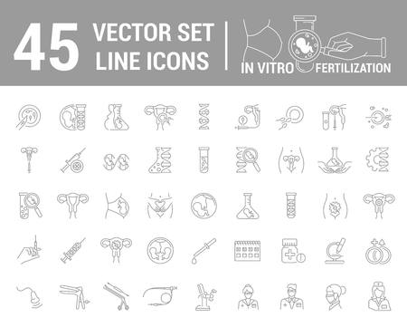 Vector graphic set. Silhouette, icon. Artificial insemination, bioengineering, biotechnology. Birth of embryo in linear, flat, contour, thin design. App, Web site template, infographic. Vectores