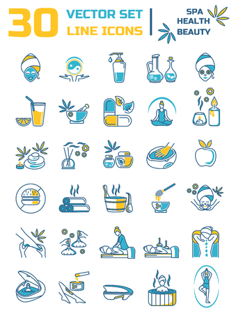 Set of linear icons on the topic of health, beauty, Spa therapy, relaxation. Set of silhouettes of Spa treatments.