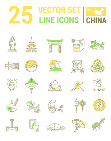 Set vector line icons in flat design with  China elements for mobile concepts and web apps. Collection modern infographic and pictogram. Vettoriali