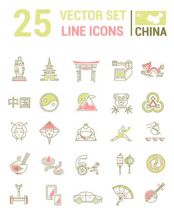 Set vector line icons in flat design with  China elements for mobile concepts and web apps. Collection modern infographic and pictogram. Illusztráció