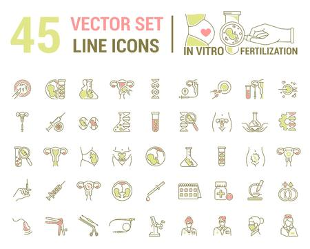 Vector graphic set. Silhouette, icon. Artificial insemination, bioengineering, biotechnology. Birth of embryo in linear, flat, contour, thin design. App, Web site template, infographic. Vektorové ilustrace