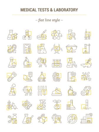 Conjunto de gráficos vectoriales. Iconos en diseño plano, contorno, contorno delgado y lineal. Análisis de laboratorio y médicos. Iconos aislados simples. Ilustración del concepto de sitio web. Signo, símbolo, elemento.