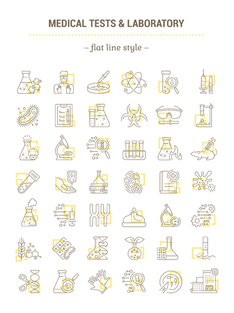Vector graphic set. Icons in flat, contour, outline thin and linear design. Laboratory and medical analysis. Simple isolated icons. Concept illustration for Web site. Sign, symbol, element. Vettoriali