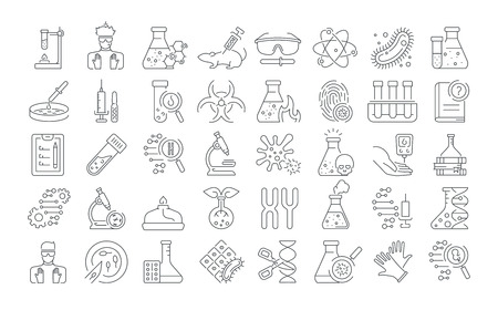 Vector graphic set. Icons in flat, contour, outline thin and linear design. Laboratory and medical analysis. Simple isolated icons. Concept illustration for Web site. Sign, symbol, element.