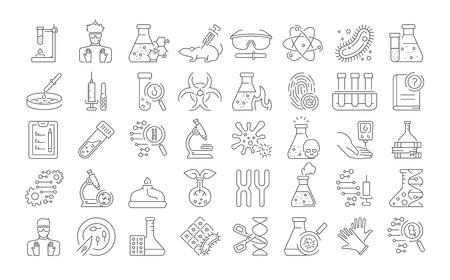 Vektorgrafik-Set. Symbole in flachem, konturiertem, dünnem und linearem Design. Labor- und medizinische Analyse. Einfache isolierte Symbole. Konzeptillustration für Website. Zeichen, Symbol, Element.