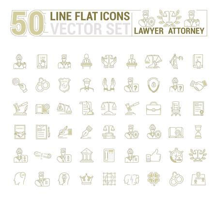 Vector graphic set. Icons in flat, contour, thin and linear design.Lawyer. Law and case law. Simple icon on white background.Concept illustration for Web site, app. Sign, symbol, emblem.