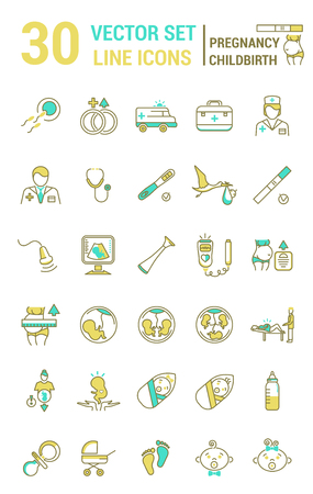 Set of icons in linear style on the subject of pregnancy and childbirth. Collection of silhouettes of people and attributes on the subject of childbearing.