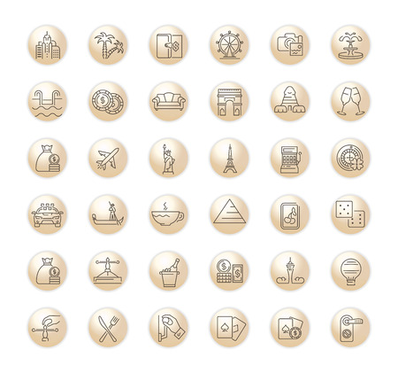 ector graphic set of icons in flat, contour, thin, minimal and linear design. Las Vegas. Slot machine, casino, poker. Gambling.Simple isolated icons.Concept for Web site app.Sign,symbol,element.