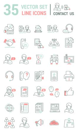 Set vector line icons in flat design with support center elements for mobile concepts and web apps. Collection modern infographic and pictogram.