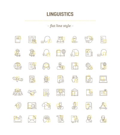 Vector graphic set. Icons in flat, contour,thin, minimal and linear design. Linguistics. Learning foreign languages. Distance learning. Simple isolated icons. Web site and app concept. Sign, symbol.