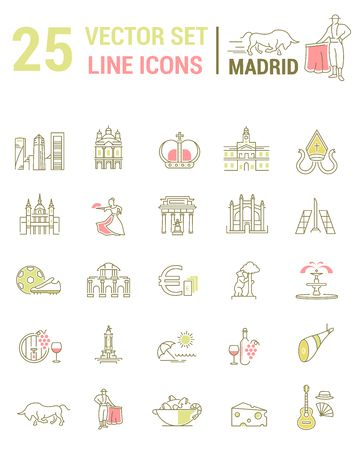 A set of graphical linear and flat icons with symbols of Madrid. Colletia infographics and silhouettes of culture of Spain for map design, web sites, mobile applications.