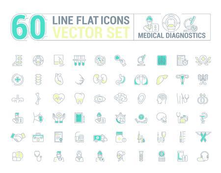 Jeu de graphiques vectoriels. Icônes en design plat, contour, mince et linéaire. Diagnostics médicaux. Vérifiez. Icône simple sur fond blanc. Illustration conceptuelle pour site Web, application. Signe, symbole, emblème.