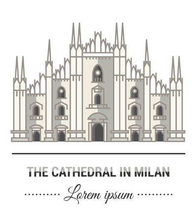 Color illustrations and flat linear design. Templates and mark of Milan Cathedral with vintage elements. Easy to use business. Vector abstract logo or emblem.