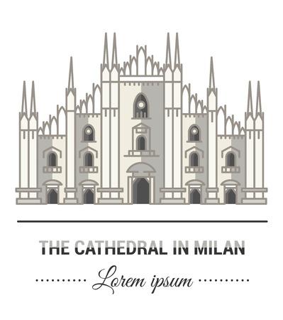 Illustrazioni a colori e design lineare e piatto. Modelli e marchio del Duomo di Milano con elementi vintage. Affari facile da usare. Logo o emblema astratto di vettore.