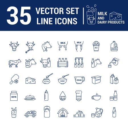 Impostare icone di contorno sottile grafiche vettoriali in design lineare. Simboli dell'emblema dell'elemento del latte, dell'industria lattiero-casearia e dei prodotti lattiero-caseari. Prodotto biologico. Formaggio, yogurt, ricotta, panna e latte condensato.