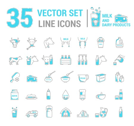 Set vector graphic thin outline icons in linear design. Element emblem symbols of milk, the dairy industry and dairy products.Organic product. Cheese, yogurt, cottage cheese, cream and condensed milk.