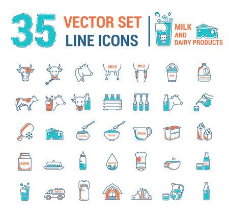 Establecer iconos de contorno fino de gráficos vectoriales en diseño lineal. Elementos emblema símbolos de la leche, la industria láctea y los productos lácteos. Producto orgánico. Queso, yogur, requesón, nata y leche condensada. Ilustración de vector