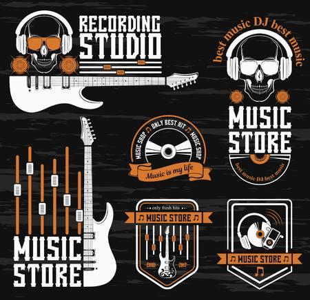 Vector set logo voor de opnamestudio en muziekwinkel. Grafisch ontwerpconcept met een silhouet van een gitaar, schedel, koptelefoon, equalizer, notitie. Symbool, embleem, op een element van de muziek. Logo