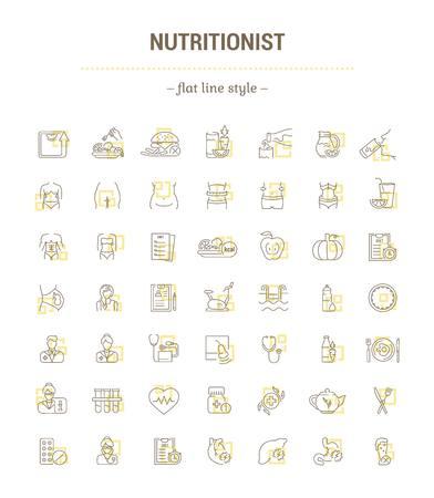 Jeu de graphiques vectoriels. Icônes en design plat, contour, mince, minimal et linéaire.Médecine. Nutritionniste. Maladie, traitement, soins de santé du corps. Illustration de concept pour site Web. Signe, symbole.