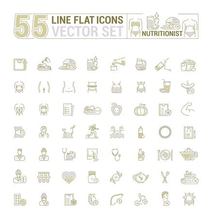 Vector graphic set. Icons in flat, contour, thin, minimal and linear design.Medicine. Nutritionist.Disease, treatment, care about health of body.Concept illustration for Web site.Sign, symbol.