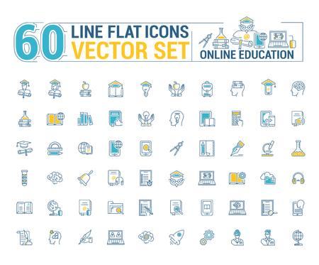 Conjunto de gráficos vectoriales. Educación en línea. La educación a distancia. Estudiante de formación en Internet. Concepto de educación en casa en diseño inear, contorno, delgado, plano. Elemento, emblema, símbolo, icono, signo, para sitio web.