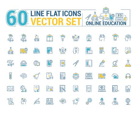 Vector graphics set. Online education. Distance learning. Internet training student. Concept home schooling in inear, contour, thin, flat, design. Element, emblem, symbol, icon, sign, for web site. Vectores