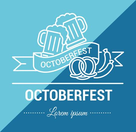 Vector set of icons on a theme of Oktoberfest in a linear design. Autumn beer festival, German national celebration of the completion of the harvest.